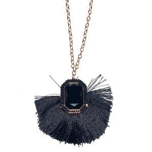 A New Day Chain Tassel Fan Pendant Necklace NWT